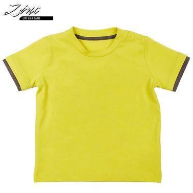 Тениска с цветен кант на ръкавите в атрактивен цвят