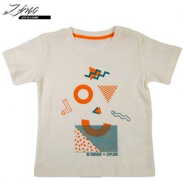 Тениска в екрю с пъстри щамповани фигури