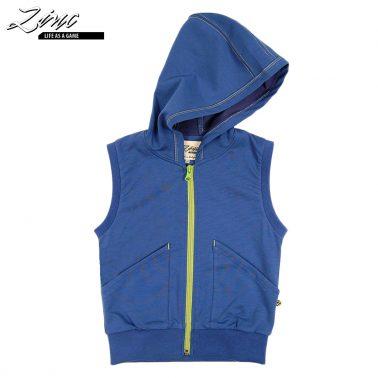 Елек с асиметрични джобове и качулка в цвят индиго