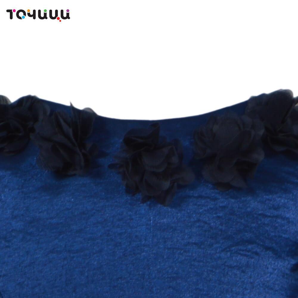 """Рокля """"Точици"""" от тафта в тъмно синьо с цветчета"""