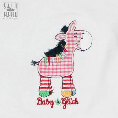 Тениска с бродирано магаренце от Salt & Pepper бяла
