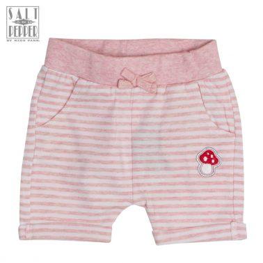 Раирани къси панталонки в розово с бродирана гъбка Salt & Pepper