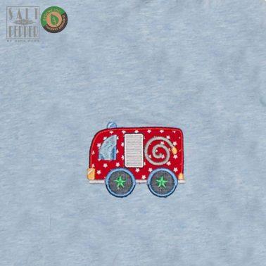 Двулицево яке в светло синьо от Salt & Pepper с бродирана пожарна кола