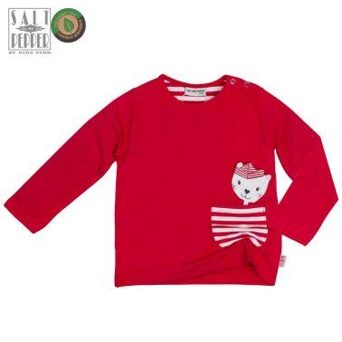 Блуза Salt & Pepper в червено с раирано джобче и коте
