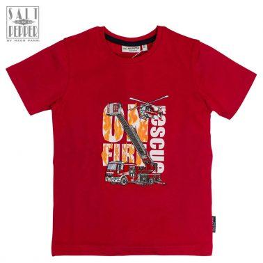 Тениска Salt & Pepper в червено с пламъци и спасителен отряд
