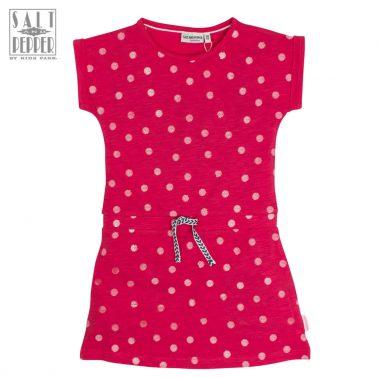 Трикотажна рокля на точки в малиново от Salt & Pepper