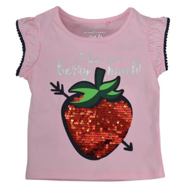 Сет тениска с ягода в розово и раирани панталонки от Lemon Beret