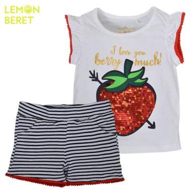 Сет тениска с ягода в бяло и раирани панталонки от Lemon Beret