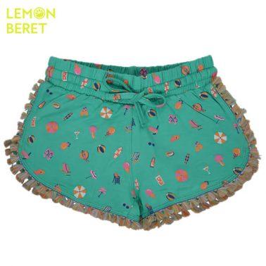Къси панталонки в зелено с ресни и морски щампи от Lemon Beret