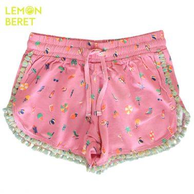 Къси панталонки в розово с ресни и морски щампи от Lemon Beret