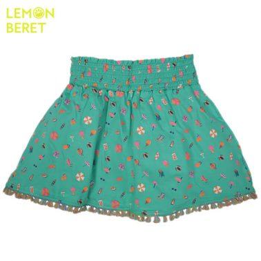 Зелена пола с морски щампи и ресни от Lemon Beret