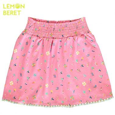 Розова пола с морски щампи и ресни от Lemon Beret
