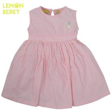 Едноцветна рокля Lemon Beret с щампа ананас в розово
