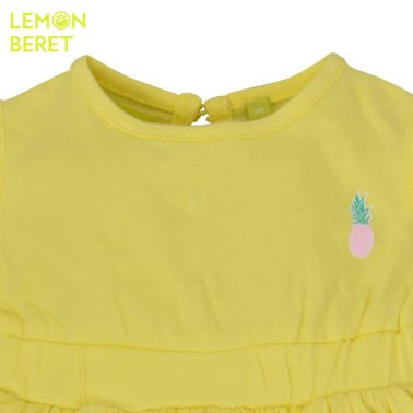 Едноцветна рокля Lemon Beret с щампа ананас в жълто