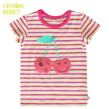 Тениска с пъстри цикламени райета и череши от Lemon Beret