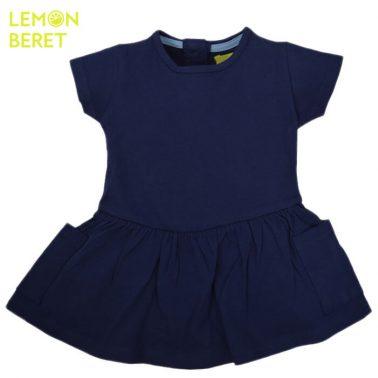 Едноцветна рокля Lemon Beret в тъмно синьо с джобчета