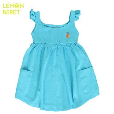 Трикотажна рокля Lemon Beret в електиково с бродиран ананас