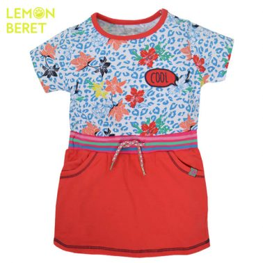 Леопардова рокля с цветя в червено от Lemon Beret