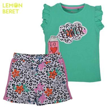 Сет тениска в зелено с щампа и леопардови панталонки от Lemon Beret