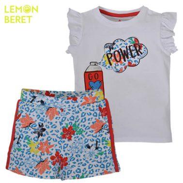 Сет тениска в бяло с щампа и леопардови панталонки от Lemon Beret