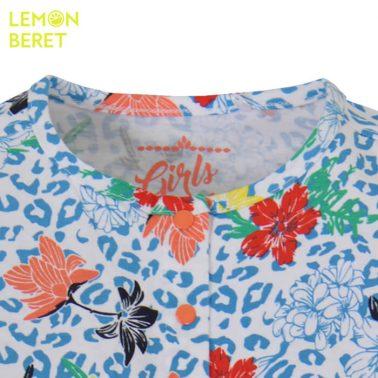 Гащеризон с леопардова шарка и цветя в синьо от Lemon Beret