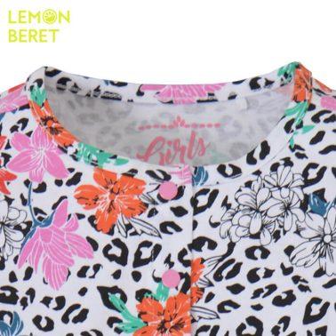 Гащеризон с леопардова шарка и цветя в розово от Lemon Beret