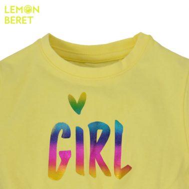 Рокля в жълто с бляскав надпис от Lemon Beret