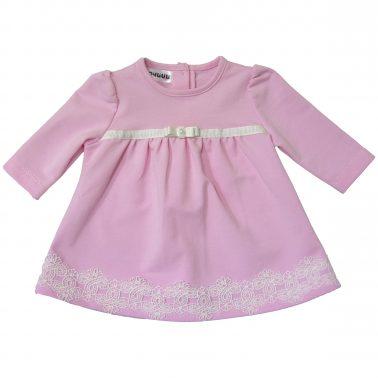 Трикотажна рокля в розово с набор и дантела