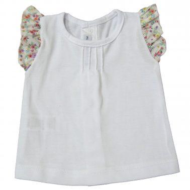 Сет блуза с къдри и гащички с волан и панделки в корал