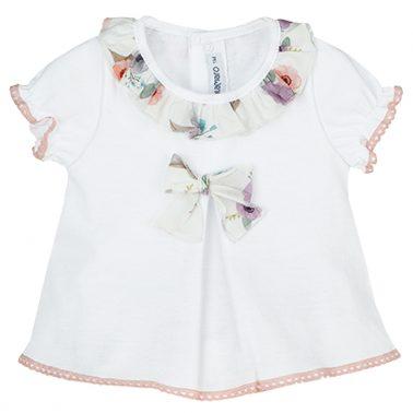 Сет блузка с яка и панделка и флорални гащички в лилаво