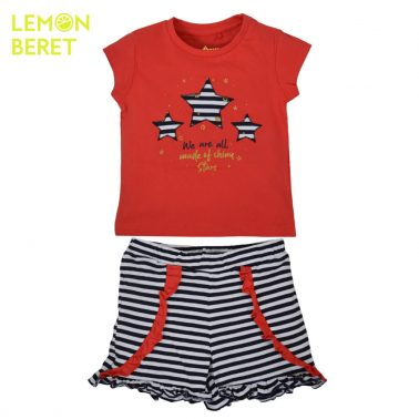Сет тениска в червено със звезди и раирани панталонки от Lemon Beret