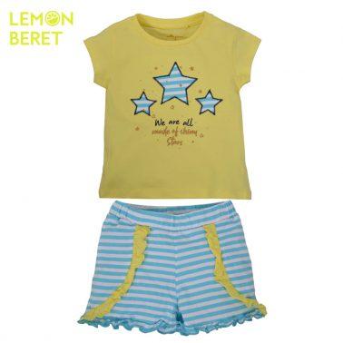 Сет тениска в жълто със звезди и раирани панталонки от Lemon Beret