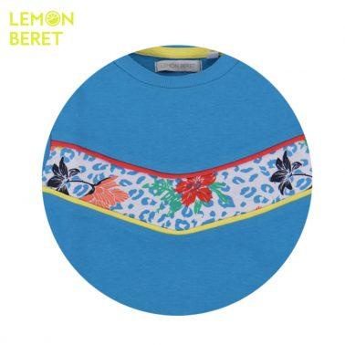 Спортна блуза с цветна платка от Lemon Beret в синьо