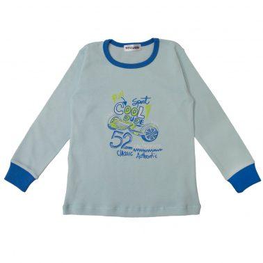 """Пижама """"Точици"""" в синьо с щампа ховърборд и надписи"""