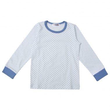 """Пижама """"Точици"""" на сини звездички с едноцветно долнище"""
