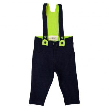 Трикотажен панталон в тъмно синьо с цветни тиранти