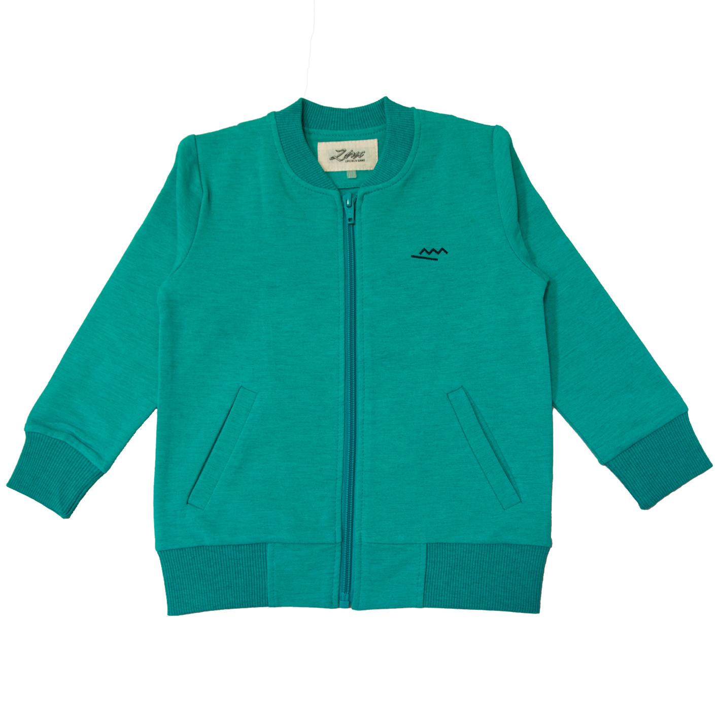 Суитшърт без качулка в зелен меланж с джобове