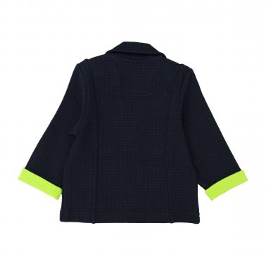 Елегантно сако в тъмно синьо с цветен маншет и джобчета