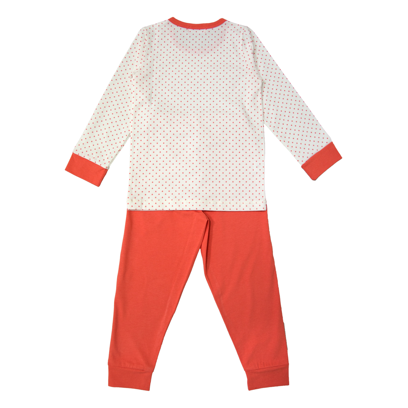 """Пижама """"Точици"""" на коралови звездички с едноцветно долнище"""