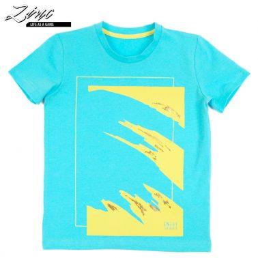 Тениска в електрик с креативна щампа вълни