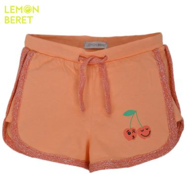 Панталонки Lemon Beret в цвят праскова с бляскав кант и черешки