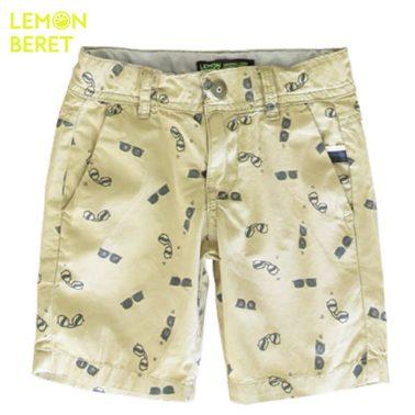 Текстилни бермуди Lemon Beret в цвят каки с очила