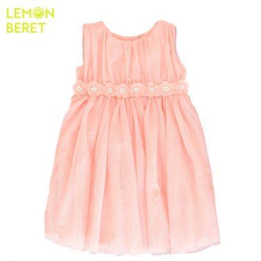 Ефирна рокля с тюл и цветчета в цвят праскова Lemon Beret