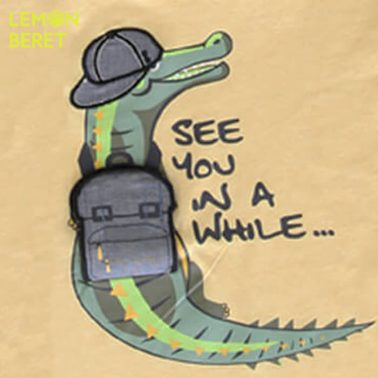 Тениска Lemon Beret в жълто с крокодил и раница-изненада