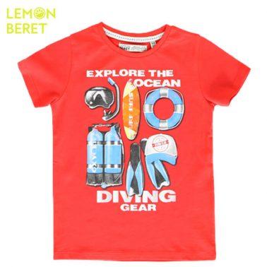 Тениска Lemon Beret в корал с водолазен костюм