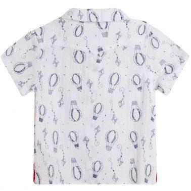 Риза къс ръкав Newness в бяло с балони и хвърчила