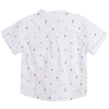 Риза Newness със столче-яка в бяло с морски щампи
