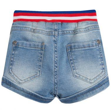 Дънкови панталонки с цветен ластик от Newness в деним