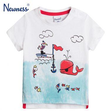 Тениска с морски обитатели Newness в бяло