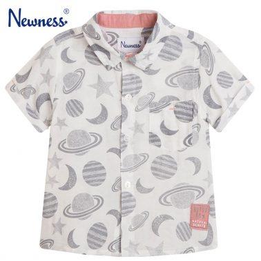 Риза къс ръкав Newness в бяло с планети и звезди
